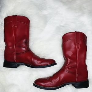 Shoes - Authentic Red Leather Cowboy Boots